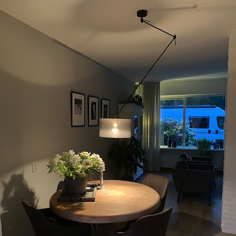 Hanglamp zwart met kap 35 cm donkergrijs verstelbaar - Blitz I