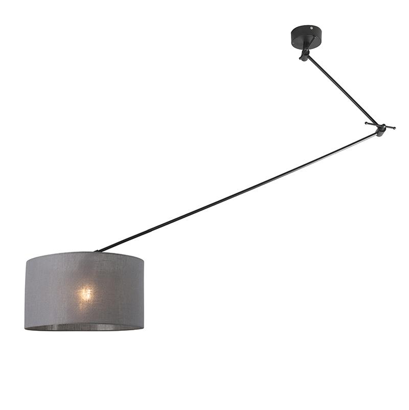 Lampa wisząca regulowana czarna klosz ciemnoszary 35cm - Blitz I