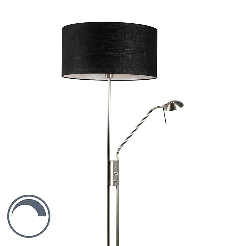 Lampa podłogowa stal z regulowanym ramieniem do czytania klosz czarny - Luxor