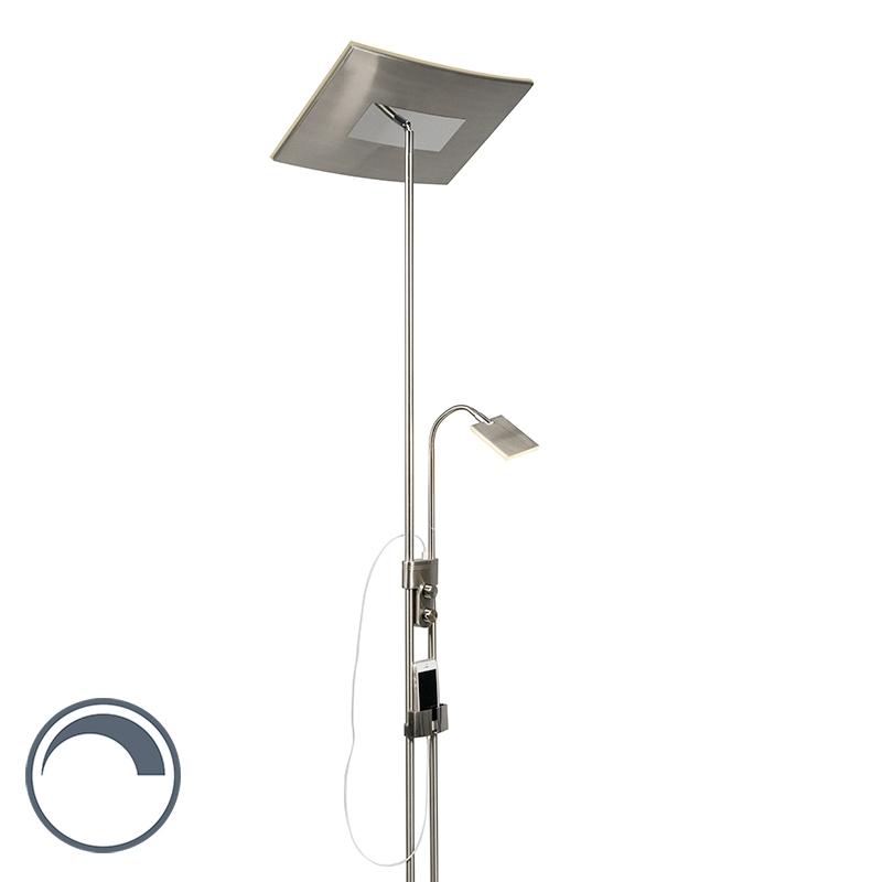 Vloerlamp Klara LED vierkant met USB en telefoonhouder
