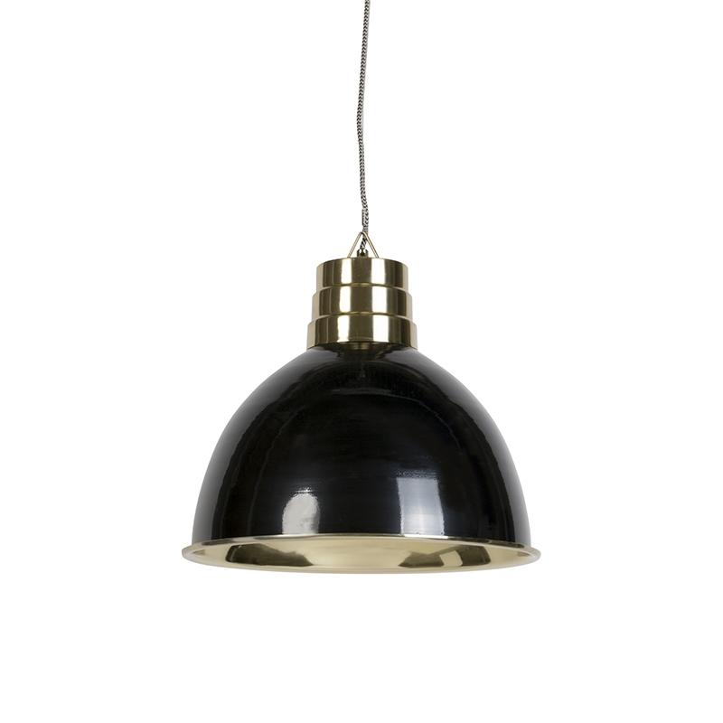 Art deco hanglamp zwart met messing - Bombay