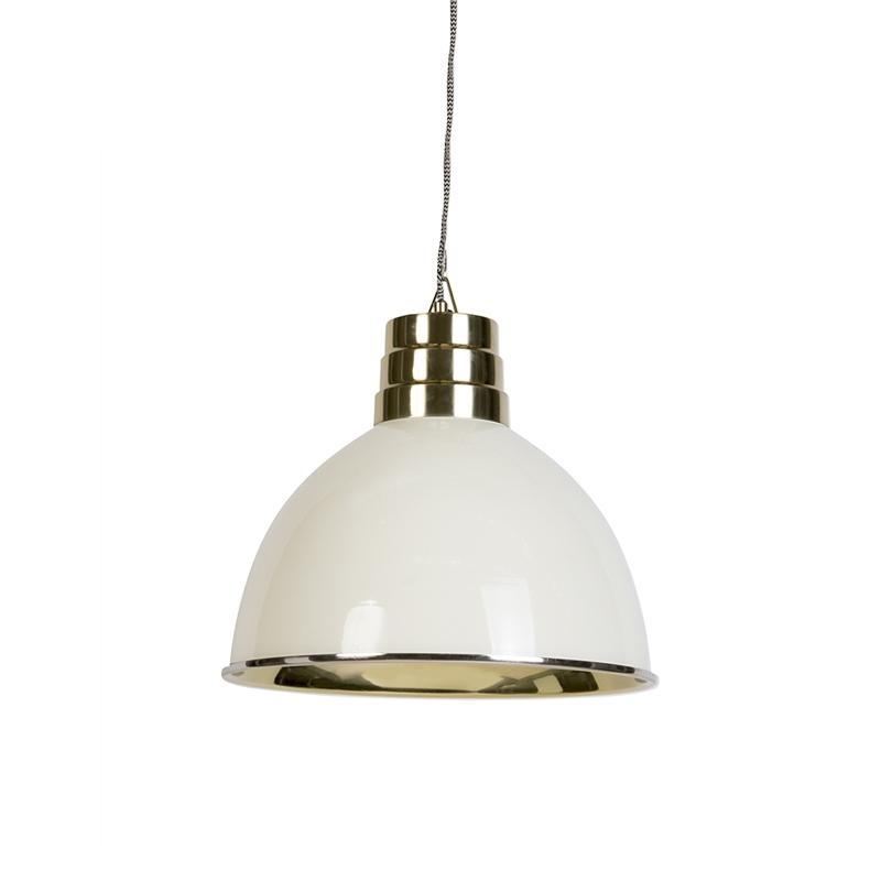 Afbeelding van Art Deco hanglamp beige met messing - Bombay Art Deco E27 rond Binnenverlichting