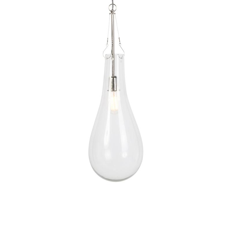 Design hanglamp glas met nickel - Nehru