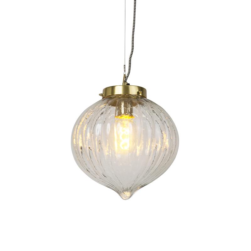 Design hanglamp glas met messing - Visha
