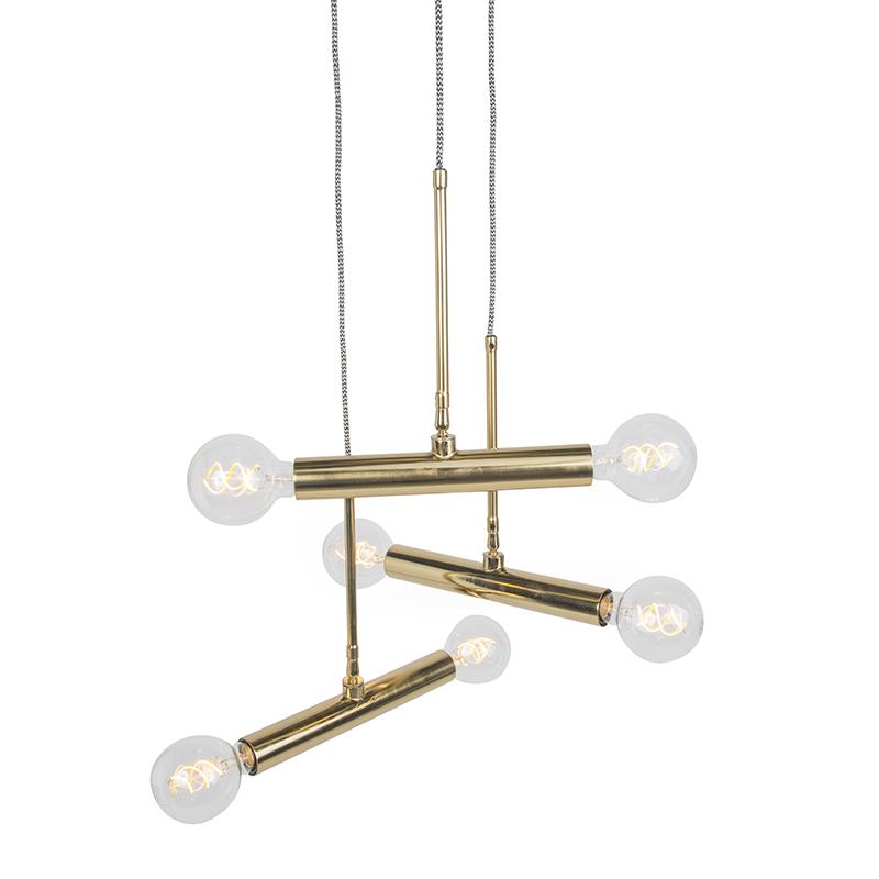 Moderne hanglamp messing met 6 lichtpunten - Hazira