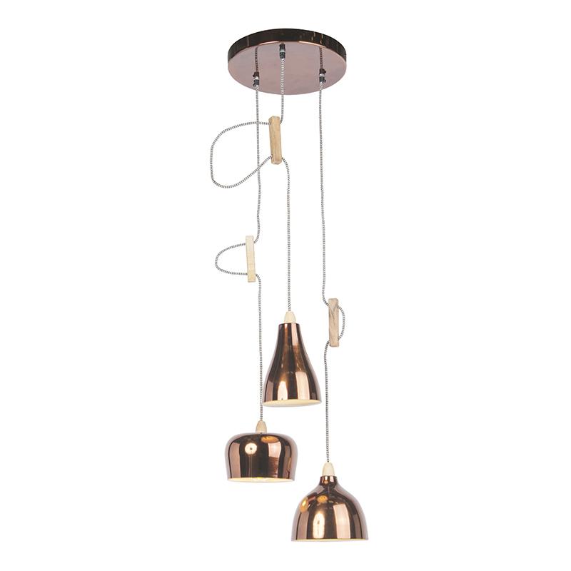 Design hanglamp koper met 3 lichtpunten - Vidya