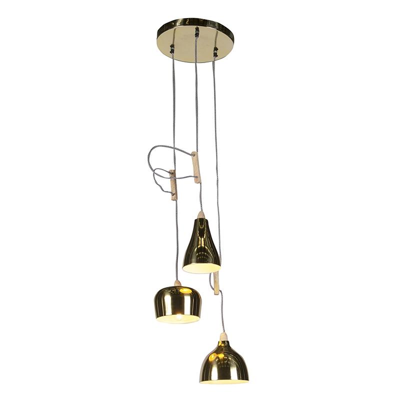 Art deco hanglamp messing met 3 lichtpunten - Vidya