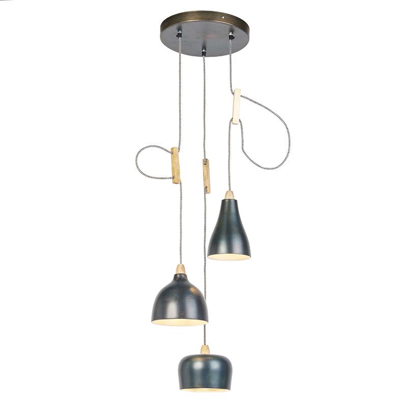 Design hanglamp zink met 3 lichtpunten - Vidya