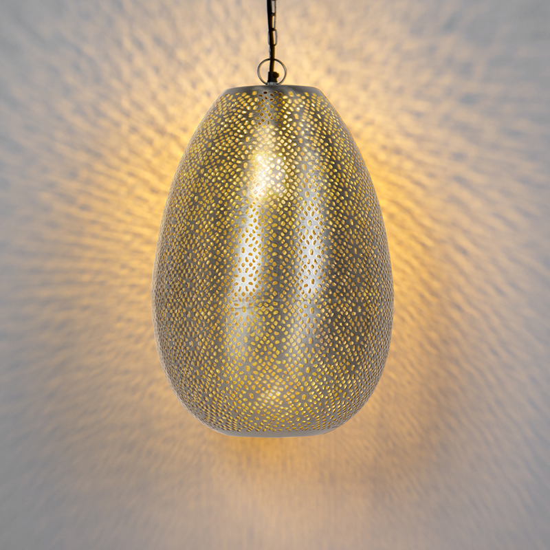 Oosterse hanglamp staal - Sinbad 1