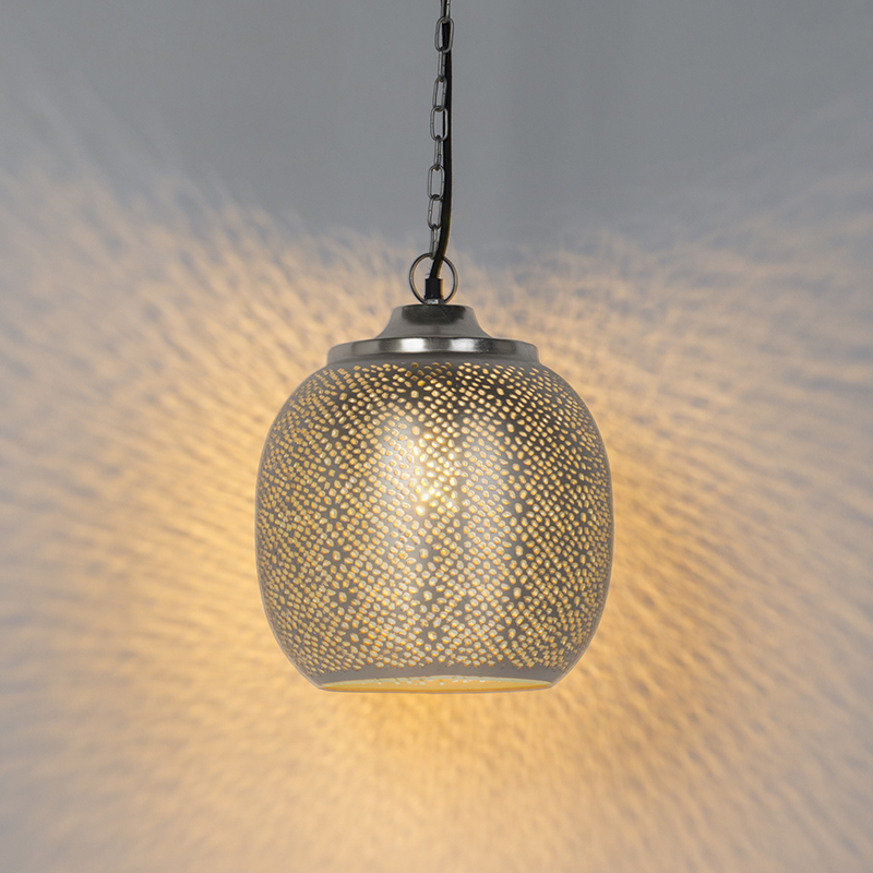 Oosterse hanglamp staal - Sinbad 4