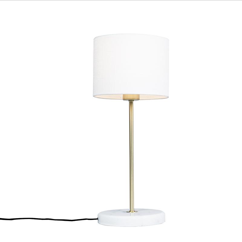 Tafellamp messing met witte kap 20 cm - Kaso
