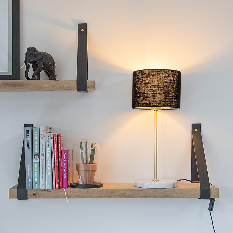 Tafellamp messing met zwarte kap 20 cm - Kaso