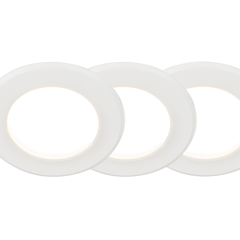 Set van 3 Inbouwspot Unit 6W wit
