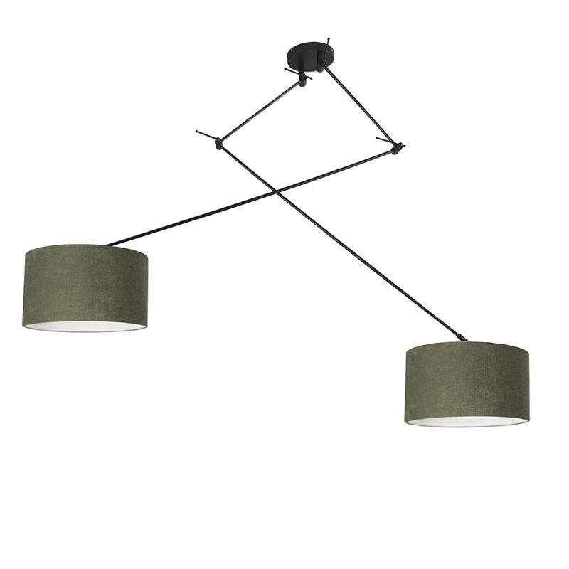 Hanglamp zwart met kap 35 cm groen verstelbaar - Blitz II