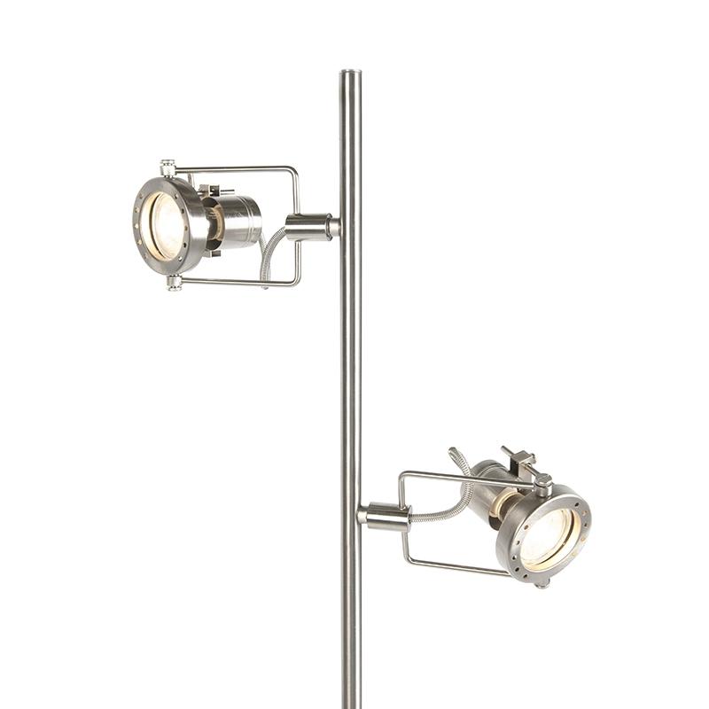 Przemysłowa lampa stojąca stal 2-źródła światła - Suplux