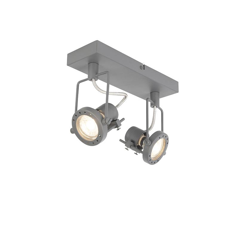 Industriële spot antraciet 2-lichts draai- en kantelbaar - Suplux