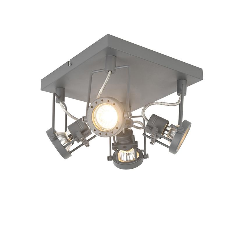 Industriële spot antraciet 4-lichts draai- en kantelbaar - Suplux