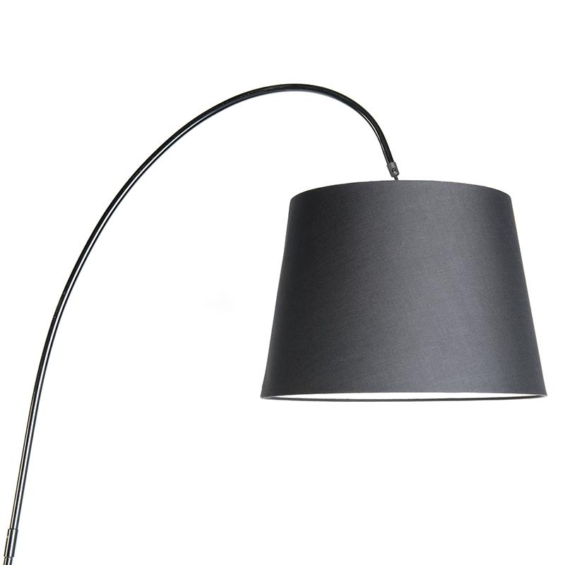 Moderne vloerlamp met zwarte kap Bend