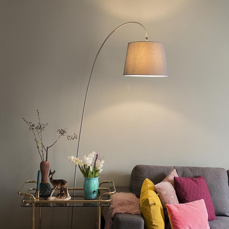 Moderne booglamp met grijze kap- Bend