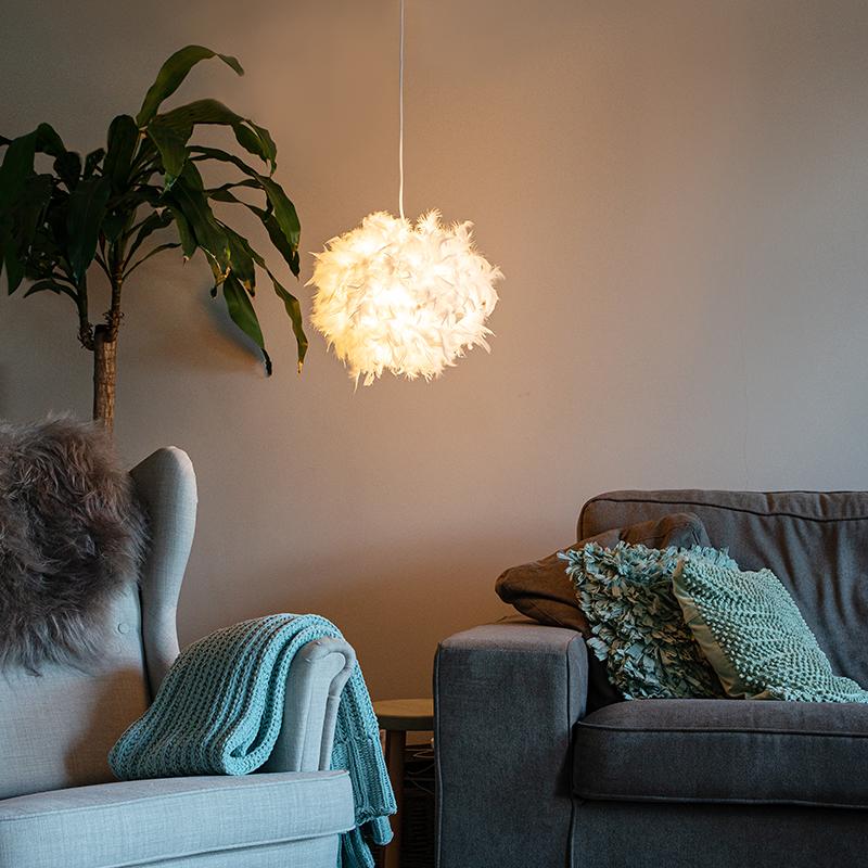 Landelijke hanglamp wit - Feather