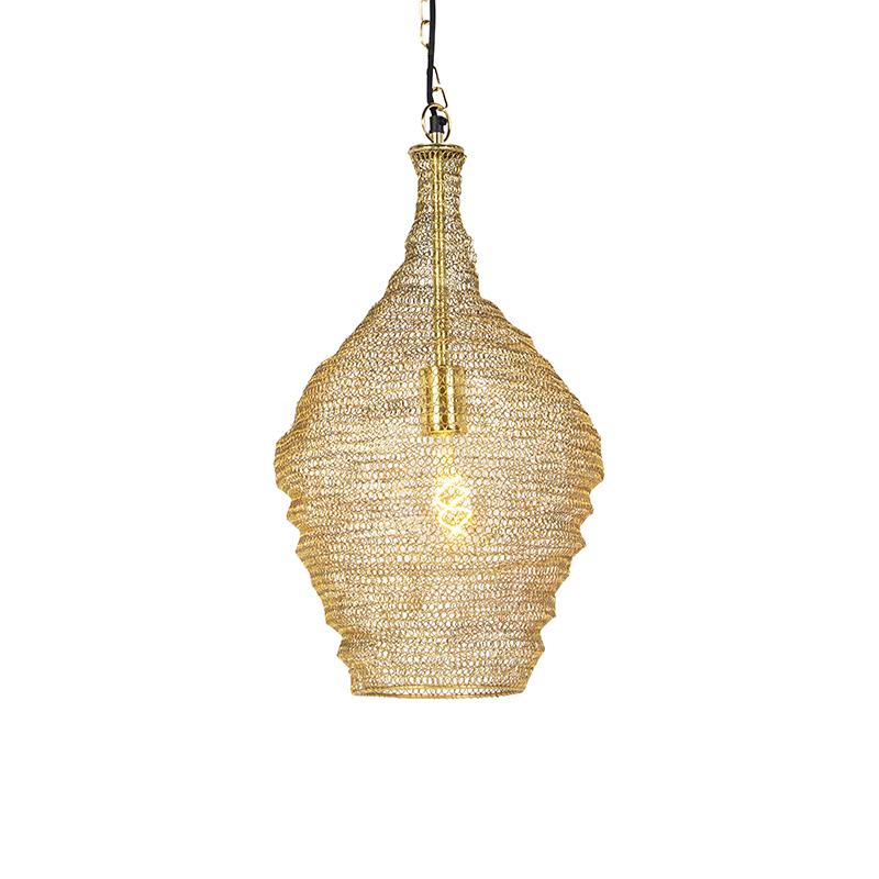 Orientalna lampa wisząca złota 30 cm - Nidum