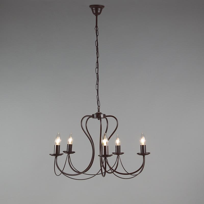Klassieke kroonluchter 5-lichts roestbruin - Como
