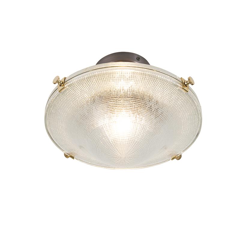 Retro plafondlamp koper met vintage helder glas - Anjar