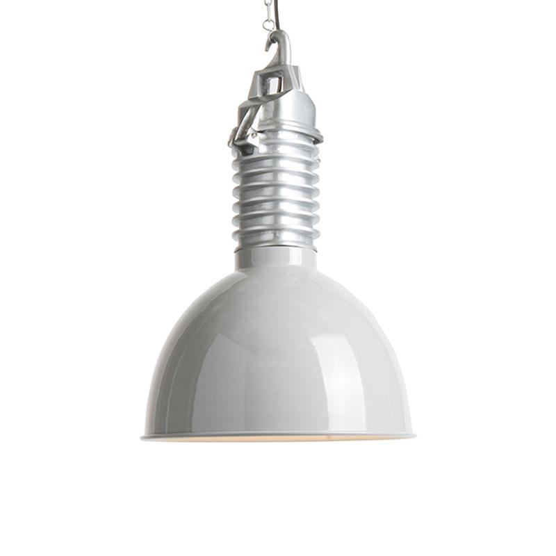 Industiele hanglamp met aluminium gear box en licht grijze kap - Campa