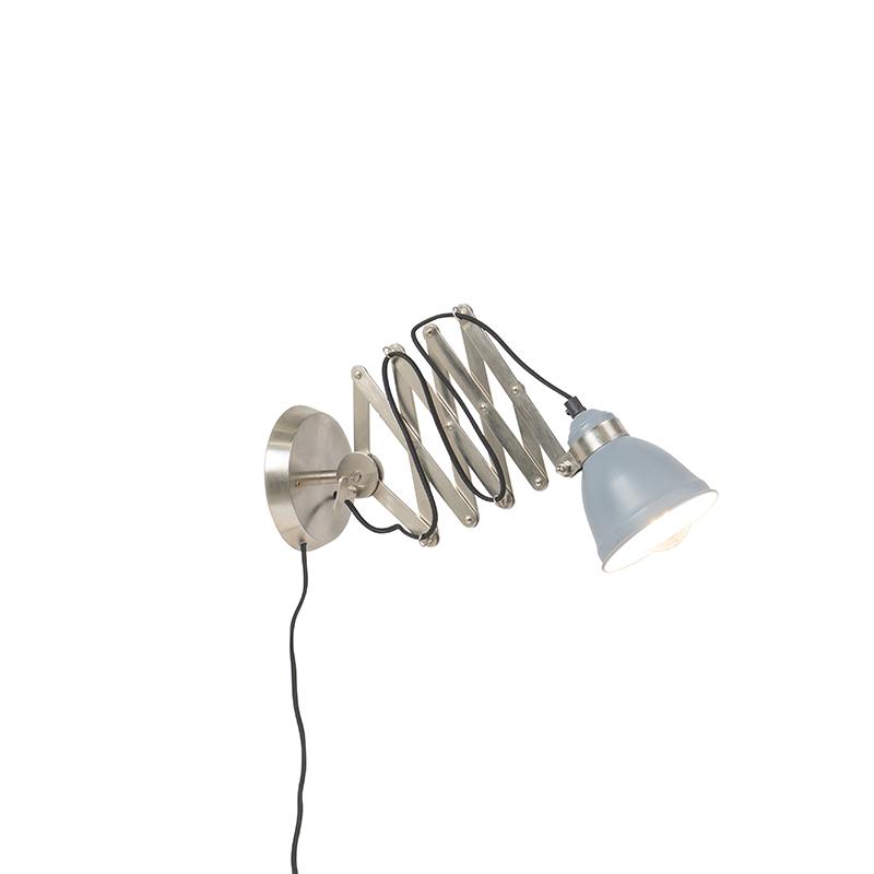 Immagine di Applique a fisarmonica industriale acciaio spazzolato e grigio - AVERA