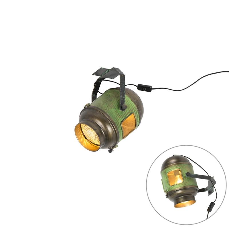 Industriële plafondlamp brons met groen - Byron