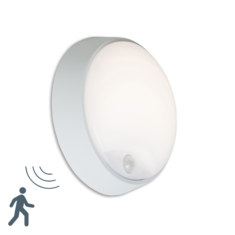 Buitenlamp Hortus Wand LED PIR sensor IP54 rond grijs