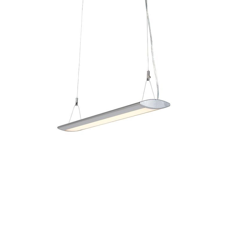 Moderne langwerpige hanglamp zilver 65cm incl. LED - Duct O