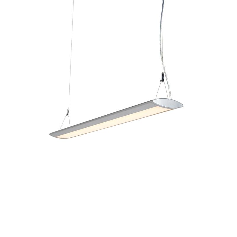 Moderne langwerpige hanglamp zilver 95cm incl. LED - Duct O