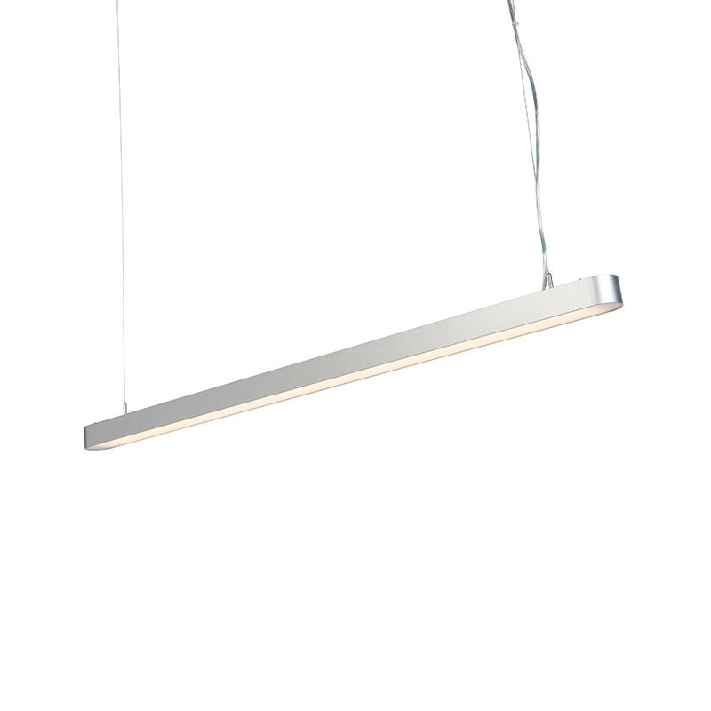 Moderne langwerpige hanglamp zilver 125cm incl. LED - Duct R