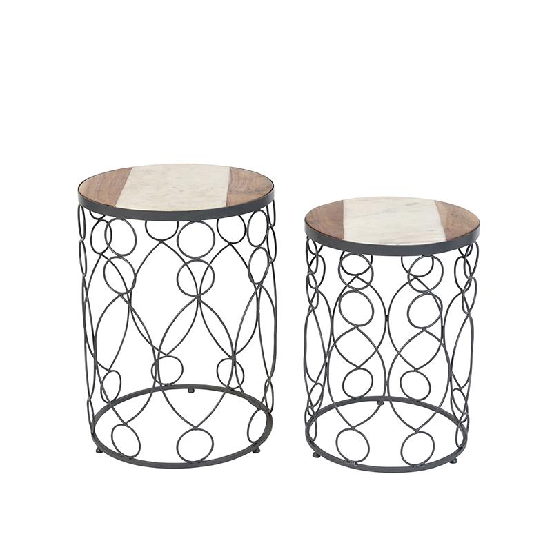 Bijzettafel Marm beton met hout marmer set van 2