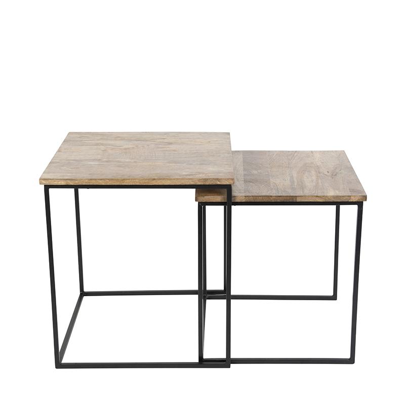 Bijzettafel Hemis zwart met hout vierkant set van 2