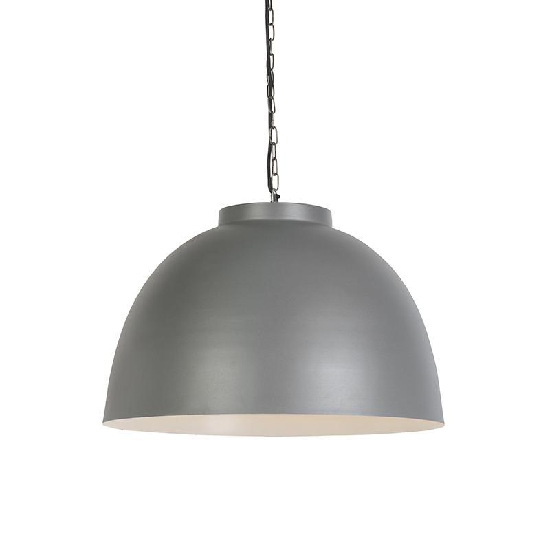 Przemysłowa lampa wisząca 60cm szara z białym wnętrzem - hoodi