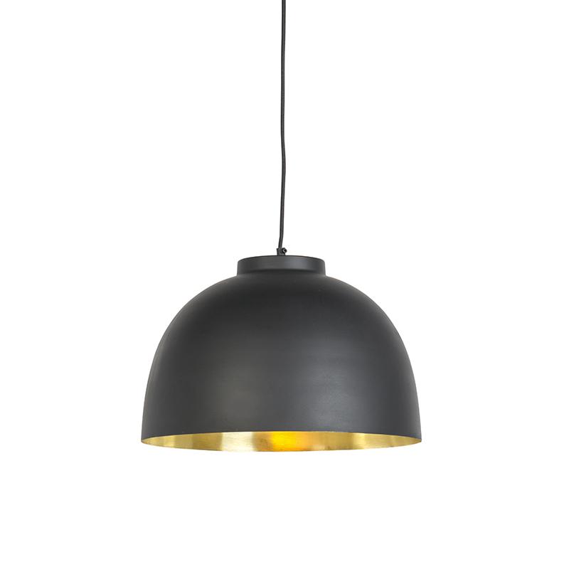 Industrialna lampa wisząca czarna ze złotym wnętrzem 40cm - Hoodi