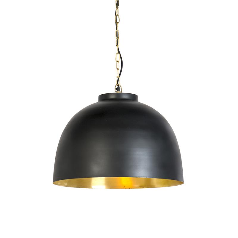Hanglamp zwart met messing binnenkant 45,5 cm - Hoodi