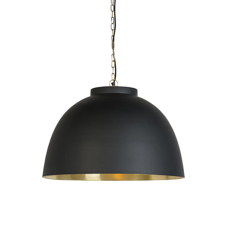 Hanglamp zwart met messing binnenkant 60 cm - Hoodi