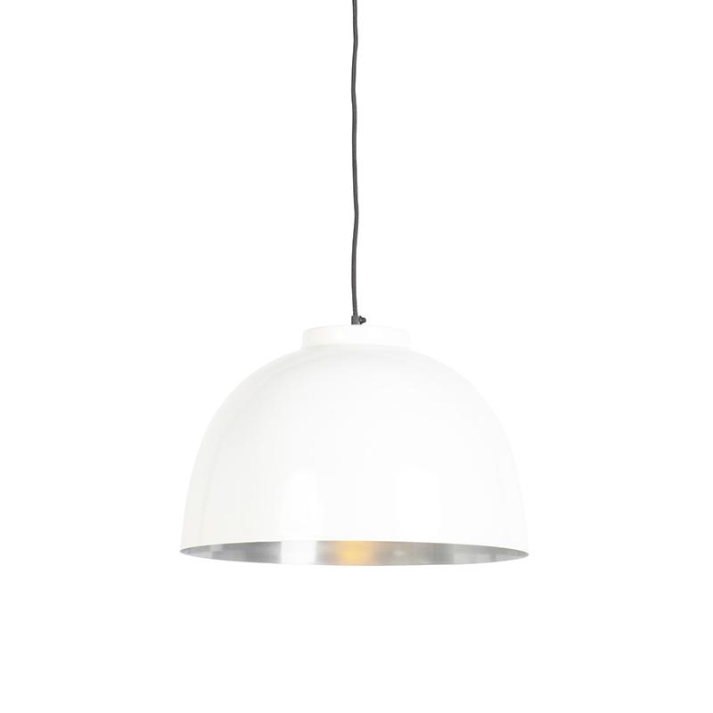 Lampa wisząca biała ze stalowym wnętrzem 40 cm - Hoodi
