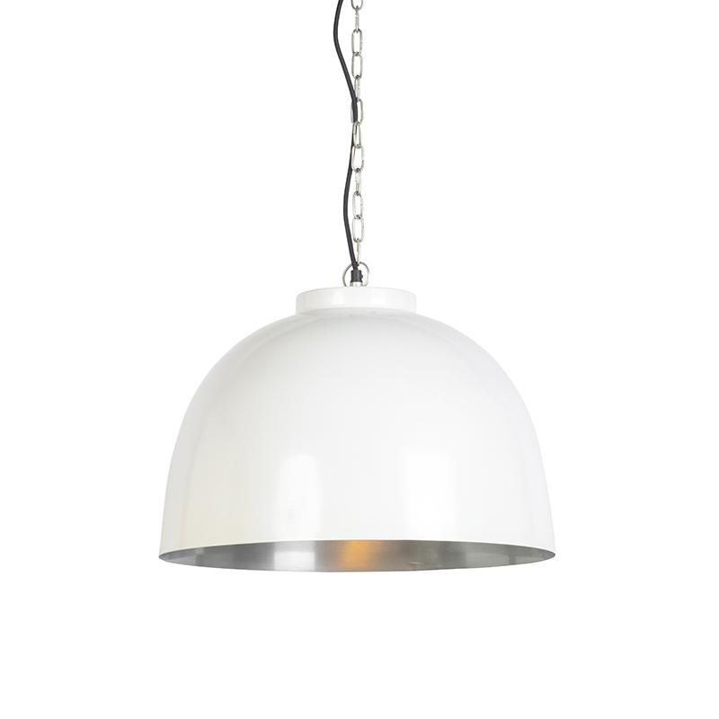 Hanglamp wit met nikkel binnenkant 45,5 cm - Hoodi