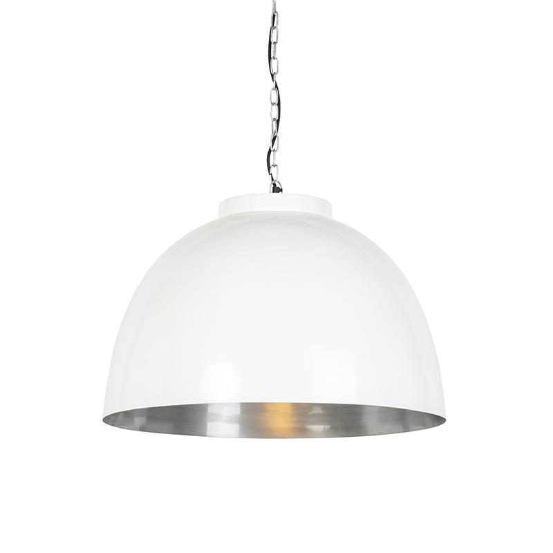 Industrialna lampa wisząca biała ze srebrnym wnętrzem 60cm - Hoodi