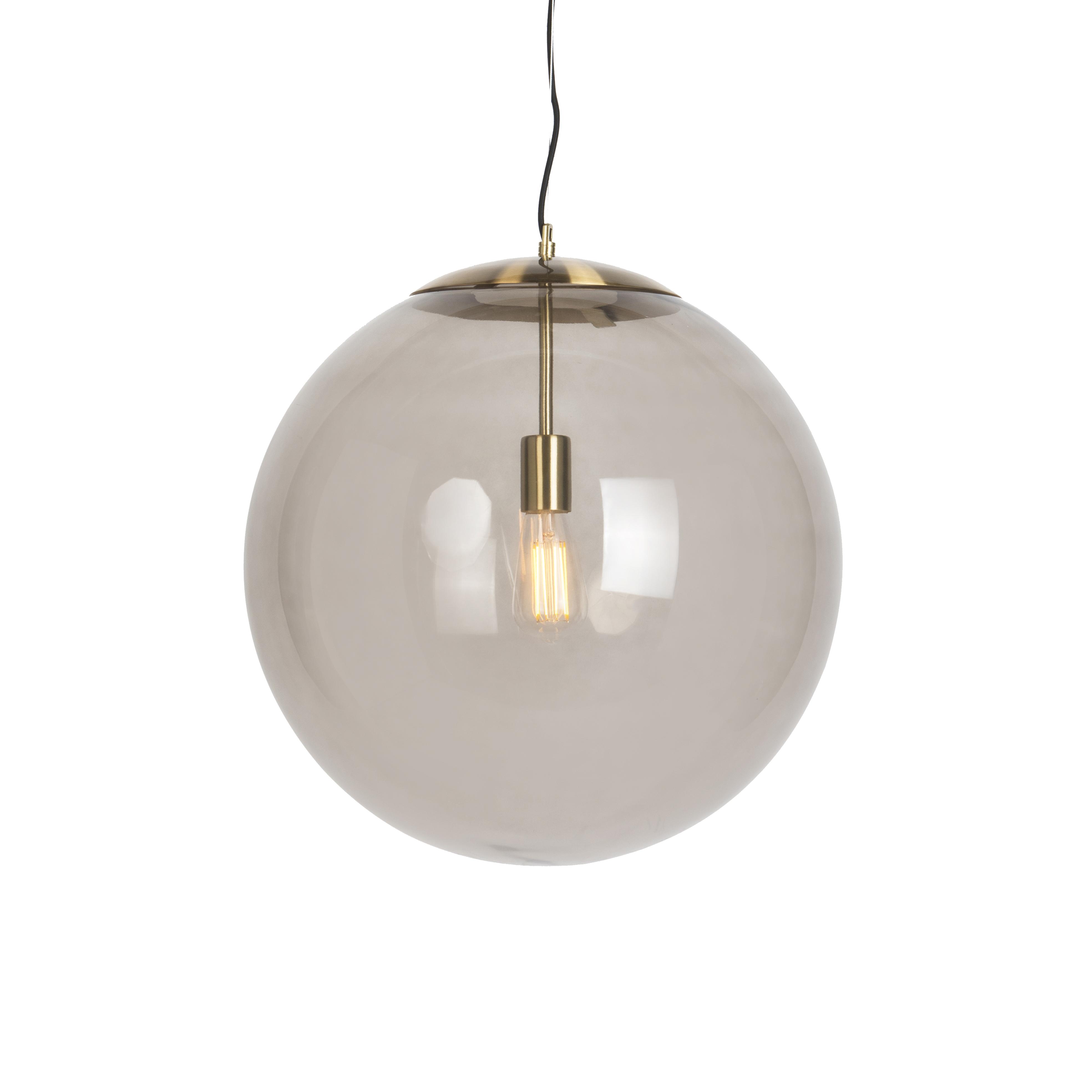 Moderne hanglamp messing met smoke glas 50 cm Ball