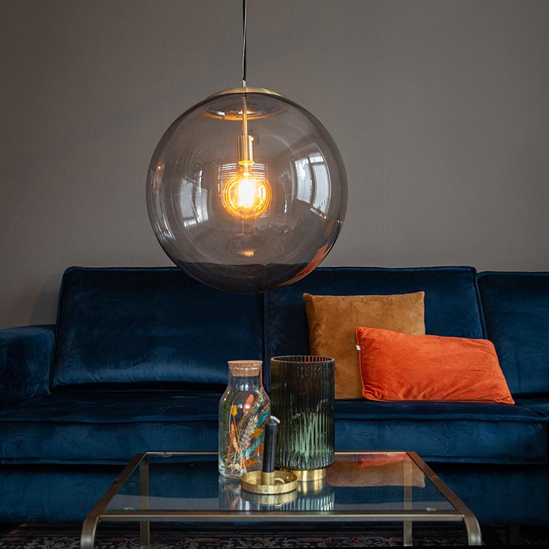 Moderne hanglamp messing met smoke glas 50 cm - Ball