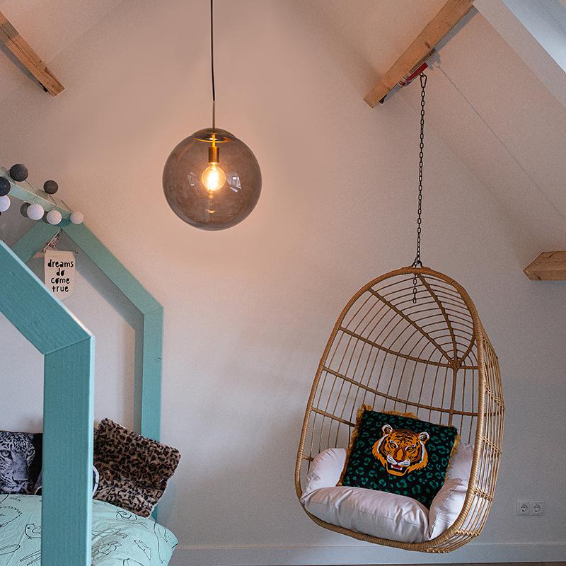 Moderne hanglamp messing met smoke glas 40 cm - Ball
