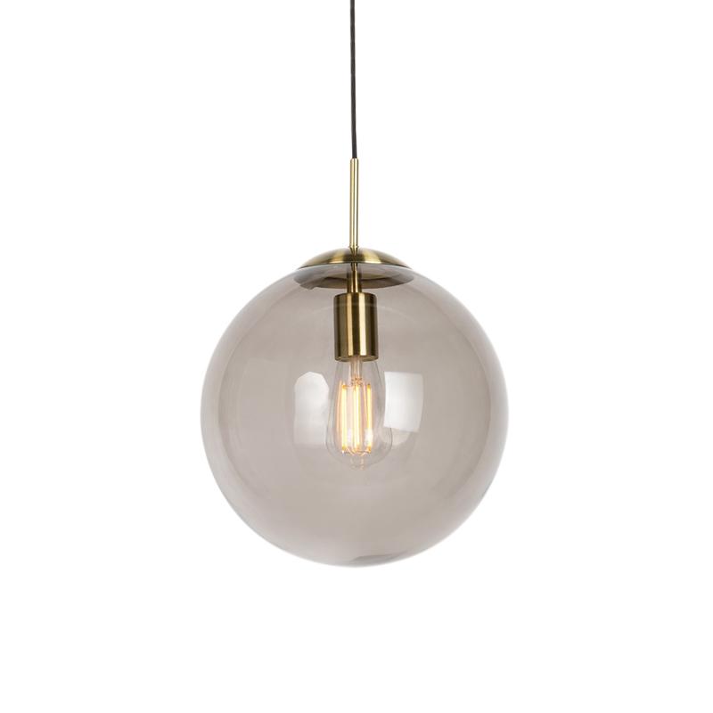 Nowoczesna lampa wisząca mosiądz przydymione szkło 30cm - Ball