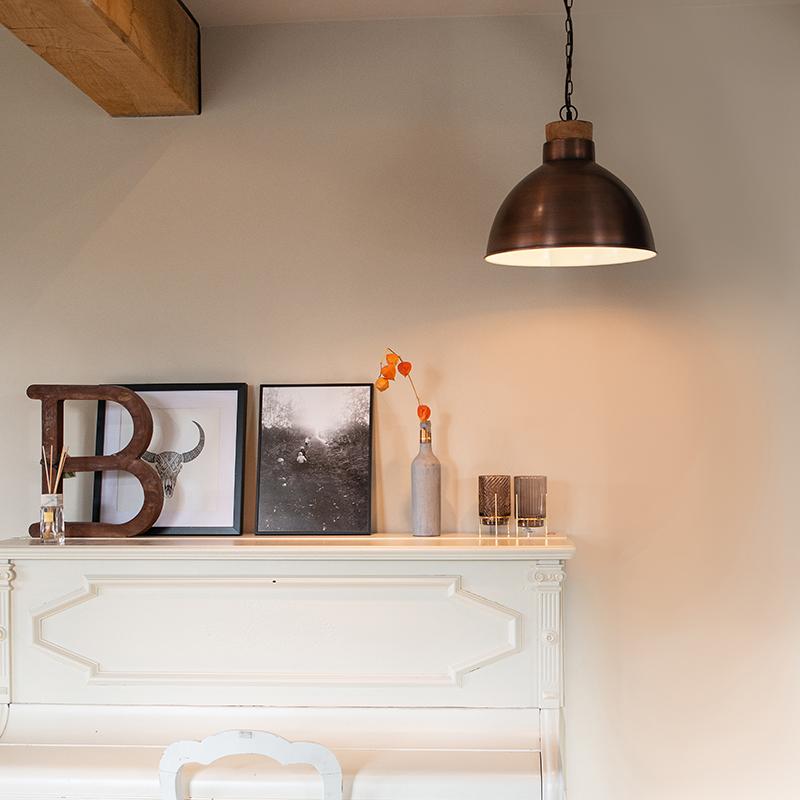 Vintage hanglamp koper met hout - Pointer