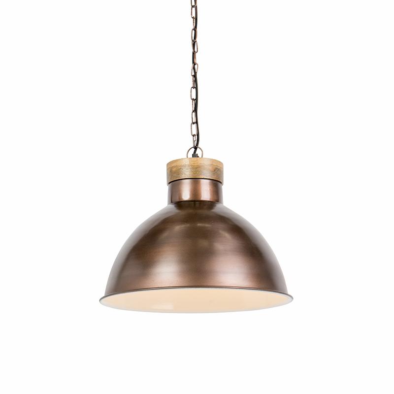 Industriele hanglamp antiek koper met hout - Pointer