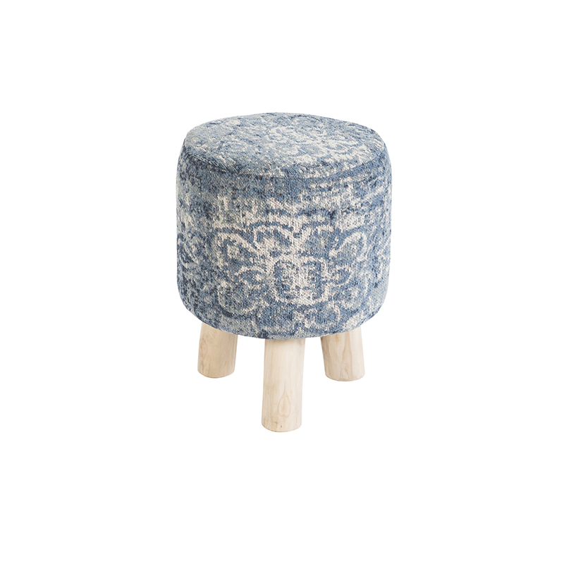 Vintage rond krukje blauw 30 x 30 x 40cm - Kanpur